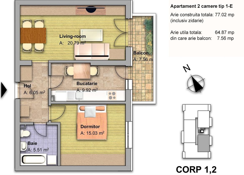 apartament 2 camere tip 1E