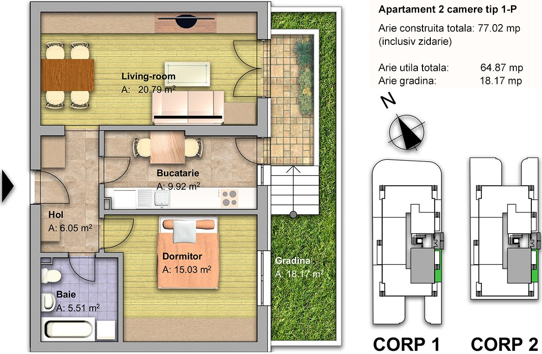 apartament 2 camere tip 1P