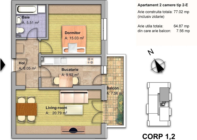 apartament 2 camere tip 2E