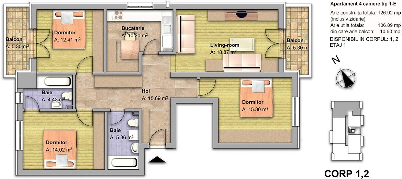 apartament 4 camere tip 1E