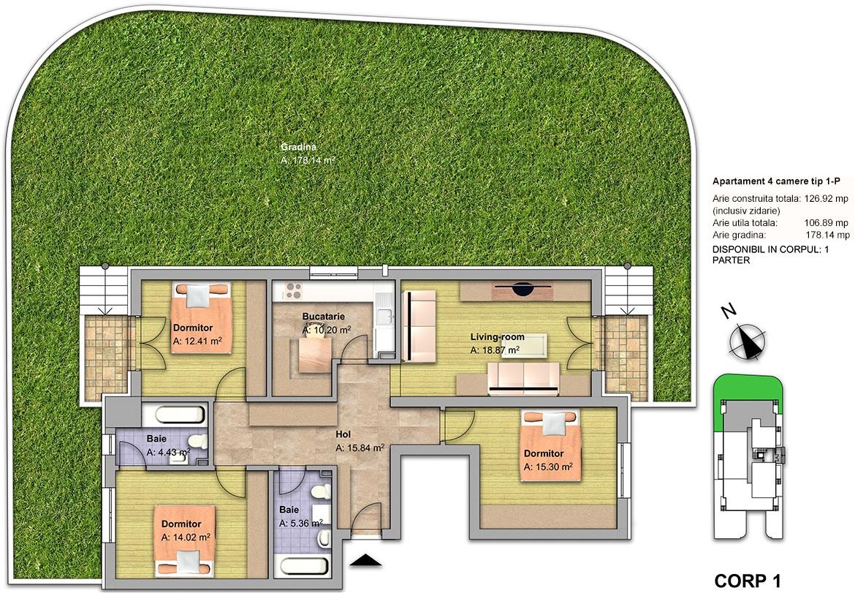 apartament 4 camere tip 1P