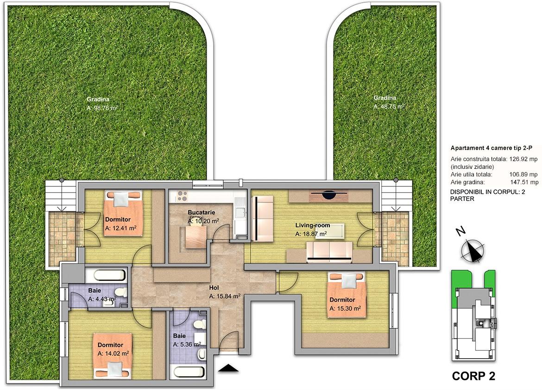 apartament 4 camere tip 2P